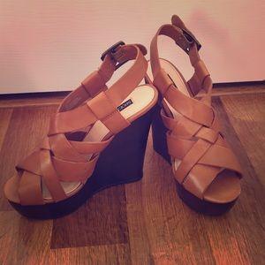 Shoemint cognac wedge sandals